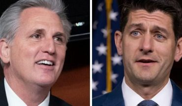 "House Minority Leader Kevin McCarthy, left, said Tuesday that he disagreed with former speaker Paul Ryan, and is convinced that President Trump ""will win re-election."""