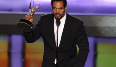 """In this June 20, 2008, file photo, Kristoff St. John accepts the award for outstanding supporting actor in a drama series for his work on """"The Young and the Restless"""" at the 35th Annual Daytime Emmy Awards in Los Angeles."""