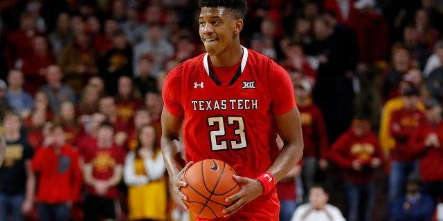Texas Tech guard Jarrett Culver smiles at the end of an NCAA college basketball game against Iowa State, Saturday, March 9, 2019, in Ames, Iowa. Texas Tech won 80-73.