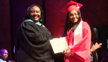 """Iris Marquez addressed her fellow classmates and urged them to """"reach for the sky."""""""