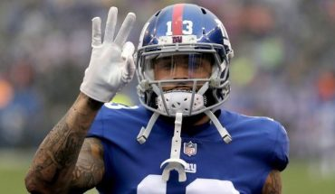 FILE - In this Dec. 2, 2018, file photo, New York Giants wide receiver Odell Beckham Jr. gestures prior to the team