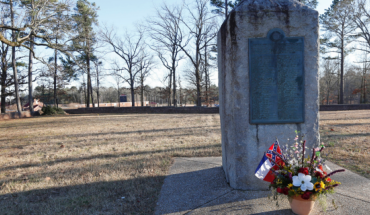 File-This March 5, 2019, file photo shows a memorial marker standing in the University of Mississippi campus cemetery that has the graves of Confederate soldiers killed at the Battle of Shiloh.  The University of Mississippi