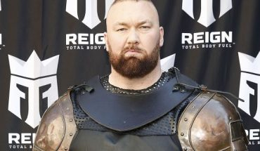 """""""Game of Thrones"""" actor Hafþór Júlíus Björnsson (Thor) """"The Mountain"""" leads a march through the streets of Times Square to celebrate the launch of Monster Energy's new performance beverage REIGN Total Body Fuel on April 16, 2019. He"""