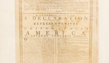 The 1776 printing of the Declaration of Independence.