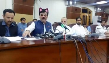 Pakistani politician dons Facebook 'cat' filter during press conference