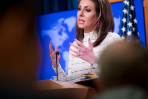 State Department spokesperson Morgan Ortagus speaks at a news conference at the State Department in Washington, Monday, June 17, 2019. (AP Photo/Andrew Harnik)