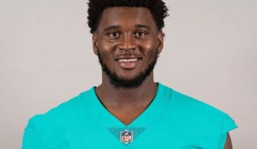 FILE - This is a 2019 file photo showing Kendrick Norton of the Miami Dolphins NFL football team. Dolphins defensive tackle Kendrick Norton suffered multiple injuries in a car crash near Miami that required his left arm to be amputated. Sports agent Malki Kawa confirmed the injuries in a tweet on Thursday morning, July 4, 2019. (AP Photo/File)