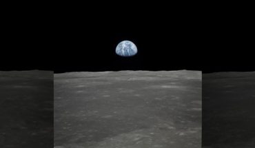 This view of Earth rising over the moon