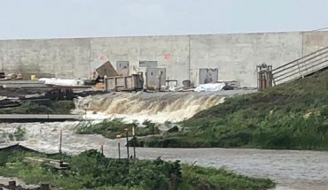 Water going over the levee at Point Celeste Pumping Station in Louisiana as Hurricane Barry makes its way to land.
