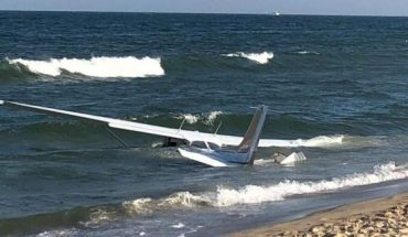 A small plane crash-landed on the waters off Ocean City, Md., Tuesday.