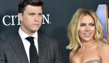 "Colin Jost (L) and Scarlett Johansson attend the premiere of ""Avengers: Endgame"" in April."