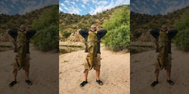 Erick Barrantes holding up a massive catfish that he has caught.