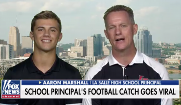 High school principal whose kickoff catch went viral tells 'Fox & Friends' how he did it