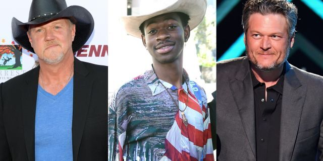 "(Left to right) Trace Adkins is pictured with Lil Nas X and Blake Shelton. In Adkins' and Shelton's duet, ""Hell Right,"" they reference Lil Nas X's smash hit ""Old Town Road,"" but deny that they were insulting the country-rap phenomenon."