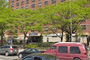 The apartment building in Manhattan, police say, where the suspected murder-suicide occurred.