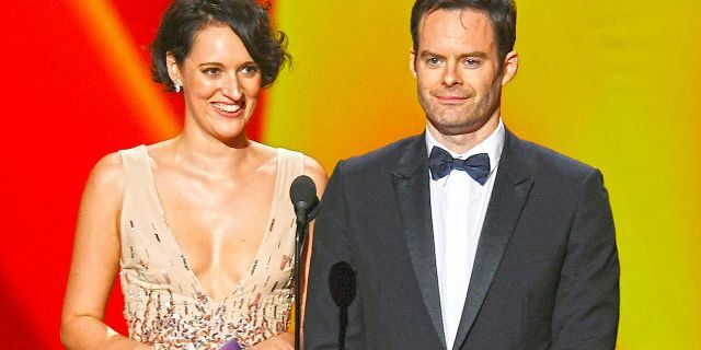 Winners Phoebe Waller-Bridge and Bill Hader speak onstage during the 71st Emmy Awards at Microsoft Theater on Sept <a class=