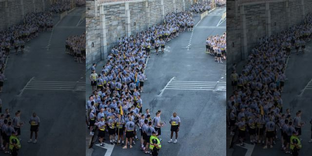 West Point cadets wait to run the Tunnel to Towers race in 2014 <a class=