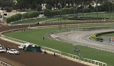 Track personnel attend Emtech, a 3-year-old colt, after he went down in the stretch at Santa Anita Race rack in the eighth race in Arcadia, Calif. on Saturday, Sept. 28, 2019 and tossed two-time Kentucky Derby-winning jockey Mario Gutierrez. Gutierrez, the 32-year-old rider who won the Kentucky Derby in 2012 and 2016, was taken away by ambulance. (AP Photo/Beth Harris)