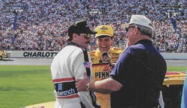 Charlotte Motor Speedway in the early 90s. Benny Parsons interviews Dale Earnhardt Sr and Michael Waltrip.