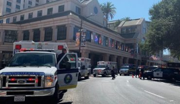 Fire crews gather on Market Street outside the Hotel Fairmont in downtown San Jose, Calif., after a report of a chemical odor Saturday, Aug. 31, 2019.