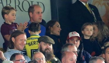 Prince George of Cambridge, Prince William, Duke of Cambridge and Catherine, Duchess of Cambridge and Princess Charlotte of Cambridge are seen in the stands during the Premier League match between Norwich City and Aston Villa at Carrow Road on October 05, 2019 in Norwich, United Kingdom.