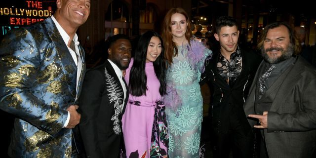 "(L-R) Dwayne Johnson, Kevin Hart, Awkwafina, Karen Gillan, Nick Jonas, and Jack Black attends the premiere of Sony Pictures' ""Jumanji: The Next Level"" at TCL Chinese Theatre on December 09, 2019 in Hollywood, California. (Photo by Kevin Winter/Getty Images)"