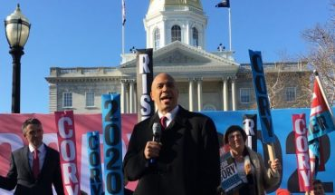 Democratic presidential candidate Sen. Cory Booker of New Jersey headlines a rally in Concord, N.H. after filing for the state