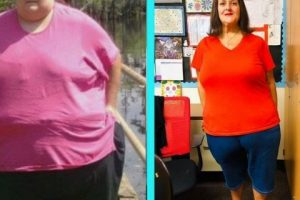 Teresa Marie, 41, from Long Beach, California, before and after her 350-pound weight loss.
