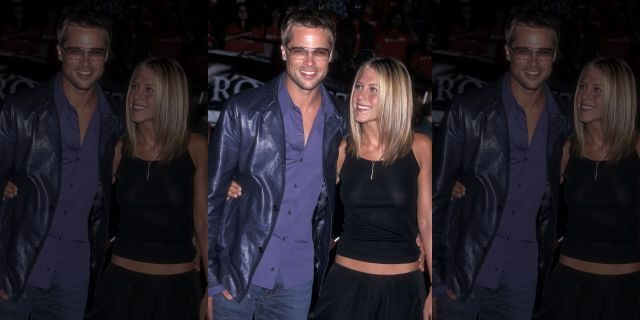 Brad Pitt and actress Jennifer Aniston attend the 'Rock Star' Westwood Premiere on September 4, 2001, at the Mann Village Theatre in Westwood, Calif.