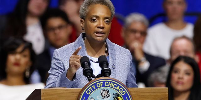Mayor Lori Lightfoot speaks in Chicago, May 20, 2019 <a class=