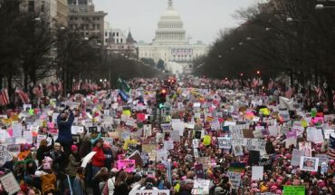 WASHINGTON, DC - JANUARY 21: Protesters walk during the Women
