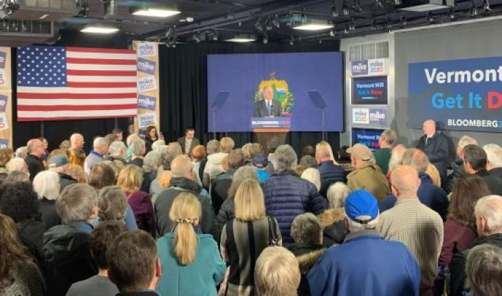 Mike Bloomberg campaigning in Vermont on Monday. (Kelly Phares/Fox News).