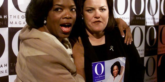 """Oprah Winfrey with Rosie O'Donnell, who holds a copy of """"O, the Oprah Magazine."""""""