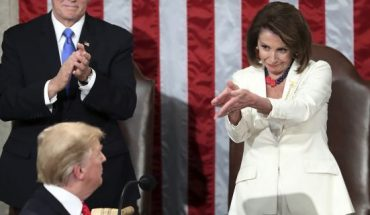 President Donald Trump turns to House Speaker Nancy Pelosi of Calif., as he delivers his State of the Union address to a joint session of Congress on Capitol Hill in Washington, as Vice President Mike Pence watches, on Feb. 5, 2019. (AP Photo/Andrew Harnik)