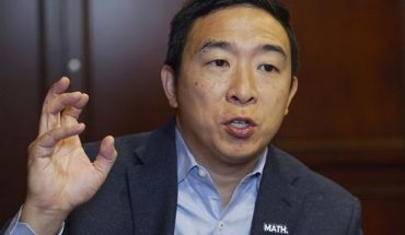 In this Dec. 5, 2019, photo, Democratic presidential candidate businessman Andrew Yang speaks during an interview with The Associated Press in Chicago. (AP Photo/Teresa Crawford)
