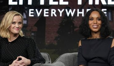 Reese Witherspoon, left, and Kerry Washington speak onstage during the Hulu Panel at Winter TCA 2020 at The Langham Huntington, Pasadena on January 17, 2020 in Pasadena, Calif. (Photo by Erik Voake/Getty Images for Hulu)