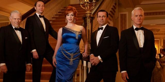 From left: Bertram Cooper (Robert Morse), Pete Campbell (Vincent Kartheiser), Joan Harris (Christina Hendricks), Don Draper (Jon Hamm) and Roger Sterling (John Slattery) appear in 'Mad Men.'