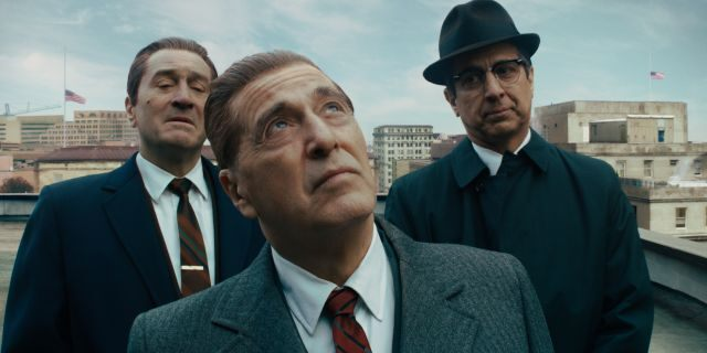 This image released by Netflix shows, from left, Robert De Niro, Al Pacino and Ray Romano in a scene from 'The Irishman.'