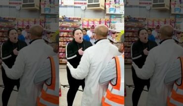 """The woman reportedly become upset when a """"male customer was standing in her way, talking to another person."""""""